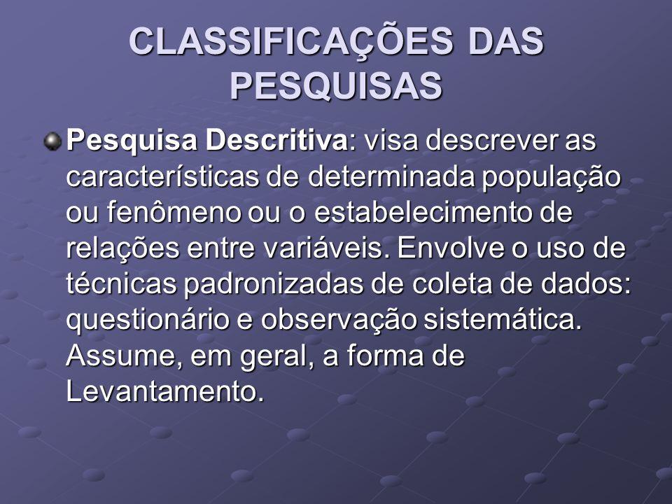CLASSIFICAÇÕES DAS PESQUISAS Pesquisa Descritiva: visa descrever as características de determinada população ou fenômeno ou o estabelecimento de relações entre variáveis.