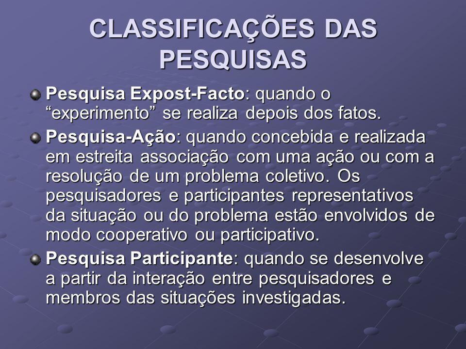 """CLASSIFICAÇÕES DAS PESQUISAS Pesquisa Expost-Facto: quando o """"experimento"""" se realiza depois dos fatos. Pesquisa-Ação: quando concebida e realizada em"""