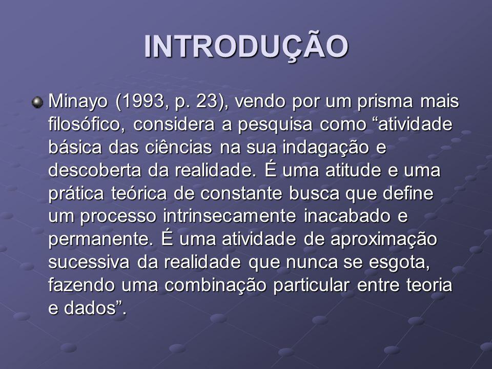 INTRODUÇÃO Minayo (1993, p.