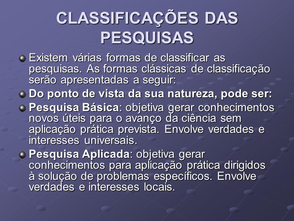 CLASSIFICAÇÕES DAS PESQUISAS Existem várias formas de classificar as pesquisas. As formas clássicas de classificação serão apresentadas a seguir: Do p