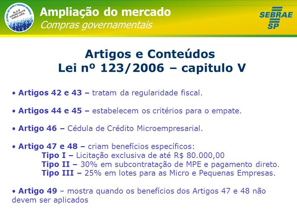 Ampliação do mercado Compras governamentais Artigos e Conteúdos Lei nº 123/2006 – capitulo V • Artigos 42 e 43 – tratam da regularidade fiscal. • Arti