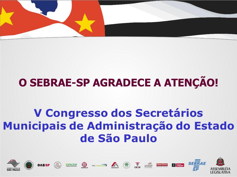 22 O SEBRAE-SP AGRADECE A ATENÇÃO! V Congresso dos Secretários Municipais de Administração do Estado de São Paulo