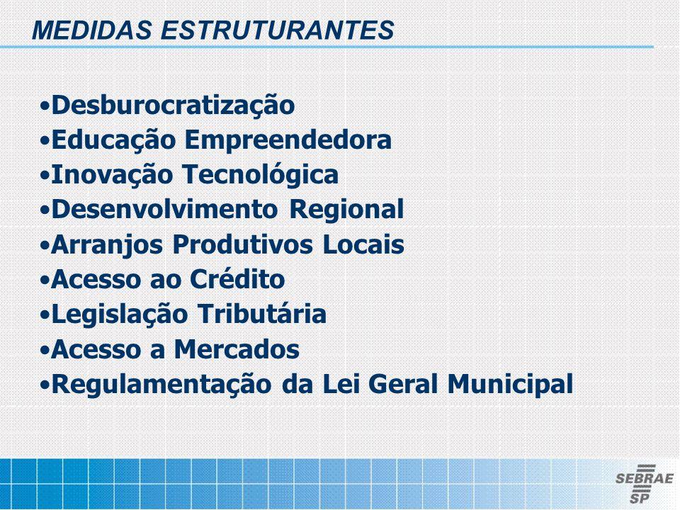 •Desburocratização •Educação Empreendedora •Inovação Tecnológica •Desenvolvimento Regional •Arranjos Produtivos Locais •Acesso ao Crédito •Legislação Tributária •Acesso a Mercados •Regulamentação da Lei Geral Municipal MEDIDAS ESTRUTURANTES