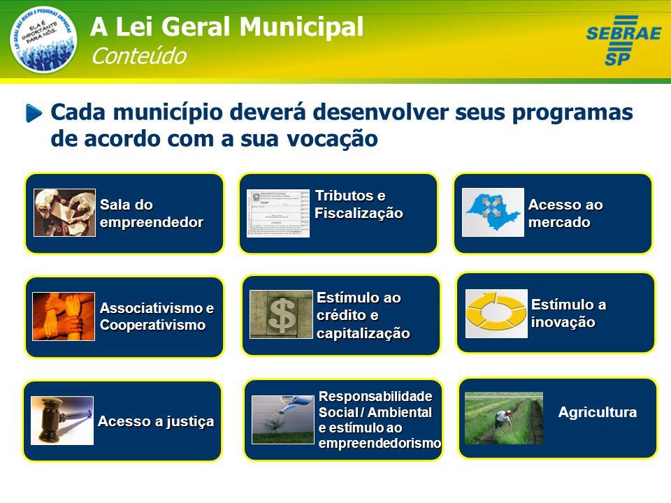 Estímulo ao crédito e capitalização A Lei Geral Municipal Conteúdo Cada município deverá desenvolver seus programas de acordo com a sua vocação Sala d
