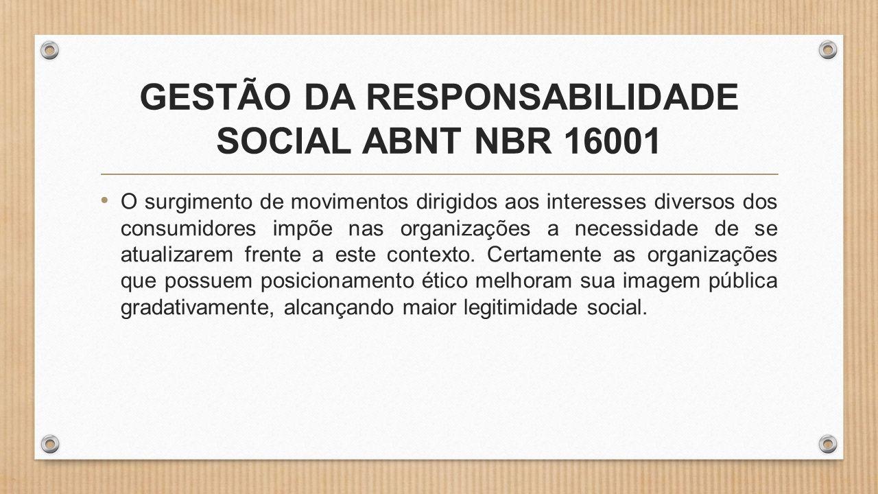 GESTÃO DA RESPONSABILIDADE SOCIAL ABNT NBR 16001 • O surgimento de movimentos dirigidos aos interesses diversos dos consumidores impõe nas organizações a necessidade de se atualizarem frente a este contexto.