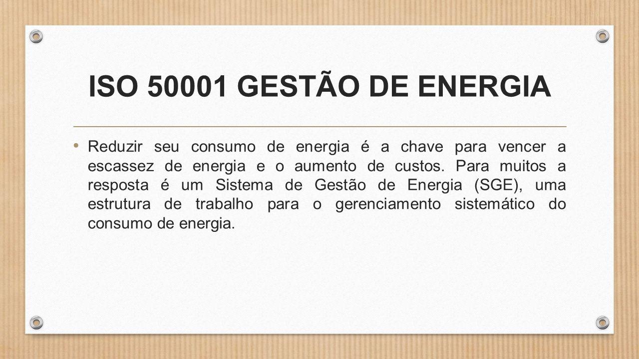 ISO 50001 GESTÃO DE ENERGIA • Reduzir seu consumo de energia é a chave para vencer a escassez de energia e o aumento de custos.