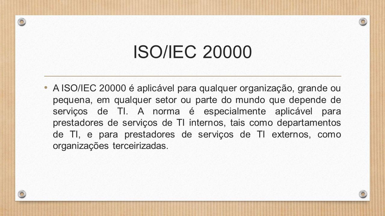 ISO/IEC 20000 • A ISO/IEC 20000 é aplicável para qualquer organização, grande ou pequena, em qualquer setor ou parte do mundo que depende de serviços de TI.