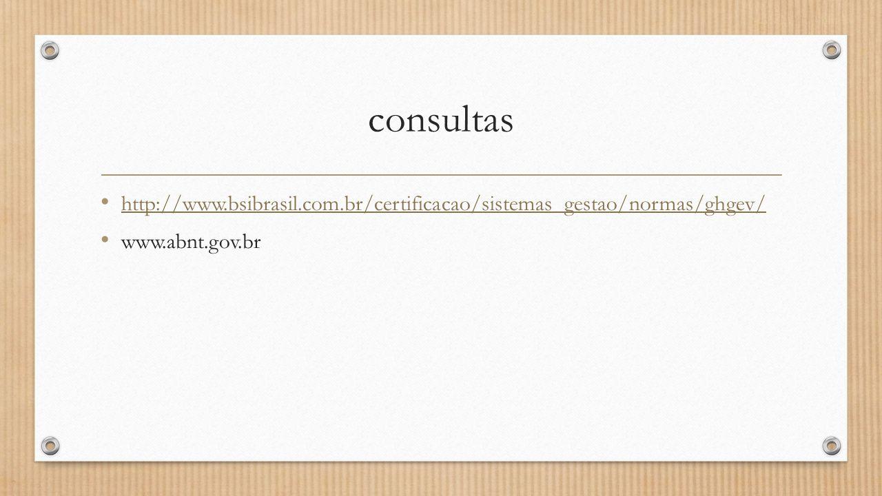 consultas • http://www.bsibrasil.com.br/certificacao/sistemas_gestao/normas/ghgev/ http://www.bsibrasil.com.br/certificacao/sistemas_gestao/normas/ghgev/ • www.abnt.gov.br