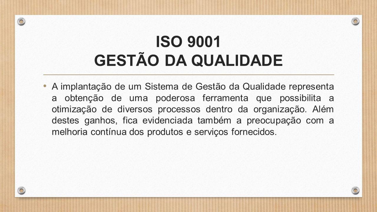 ISO 9001 GESTÃO DA QUALIDADE • A implantação de um Sistema de Gestão da Qualidade representa a obtenção de uma poderosa ferramenta que possibilita a otimização de diversos processos dentro da organização.