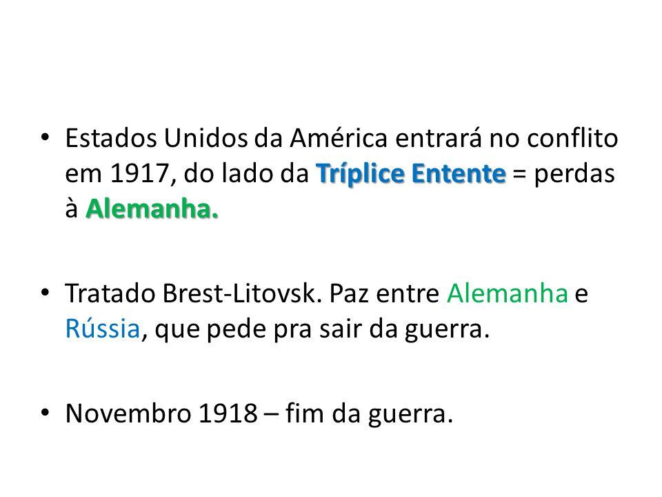 Tríplice Entente Alemanha. • Estados Unidos da América entrará no conflito em 1917, do lado da Tríplice Entente = perdas à Alemanha. • Tratado Brest-L