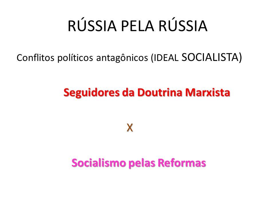 RÚSSIA PELA RÚSSIA Conflitos políticos antagônicos (IDEAL SOCIALISTA) Seguidores da Doutrina Marxista Seguidores da Doutrina Marxista X Socialismo pel
