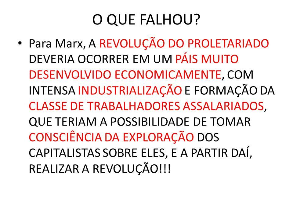 O QUE FALHOU? • Para Marx, A REVOLUÇÃO DO PROLETARIADO DEVERIA OCORRER EM UM PÁIS MUITO DESENVOLVIDO ECONOMICAMENTE, COM INTENSA INDUSTRIALIZAÇÃO E FO