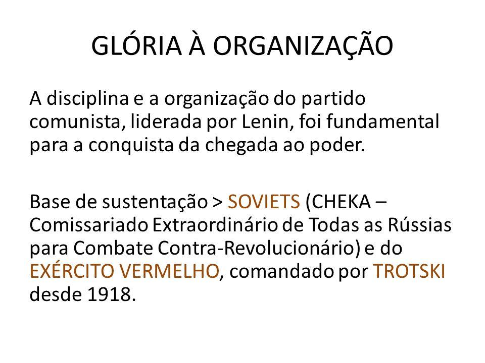 GLÓRIA À ORGANIZAÇÃO A disciplina e a organização do partido comunista, liderada por Lenin, foi fundamental para a conquista da chegada ao poder. Base