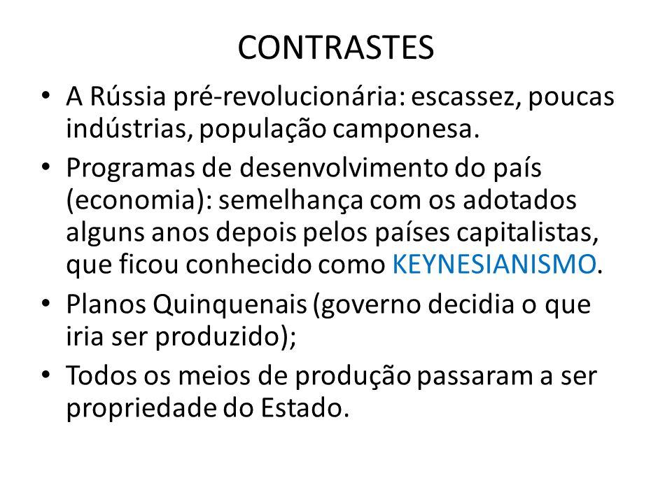 CONTRASTES • A Rússia pré-revolucionária: escassez, poucas indústrias, população camponesa. • Programas de desenvolvimento do país (economia): semelha