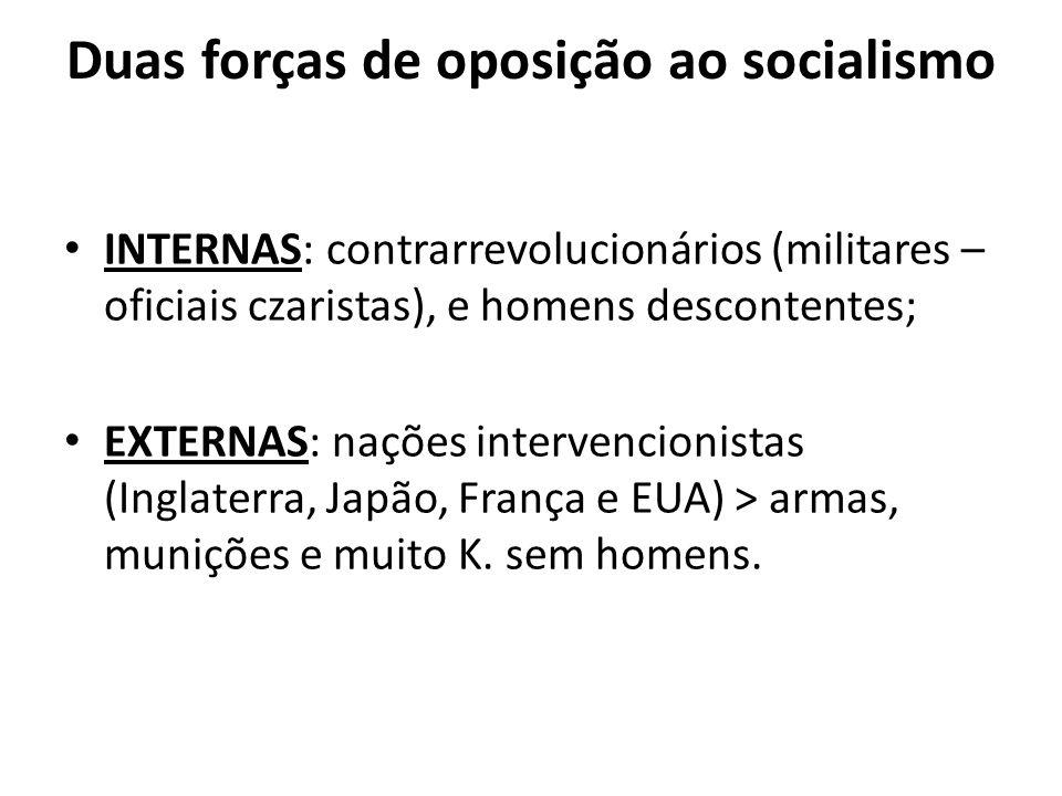 Duas forças de oposição ao socialismo • INTERNAS: contrarrevolucionários (militares – oficiais czaristas), e homens descontentes; • EXTERNAS: nações i