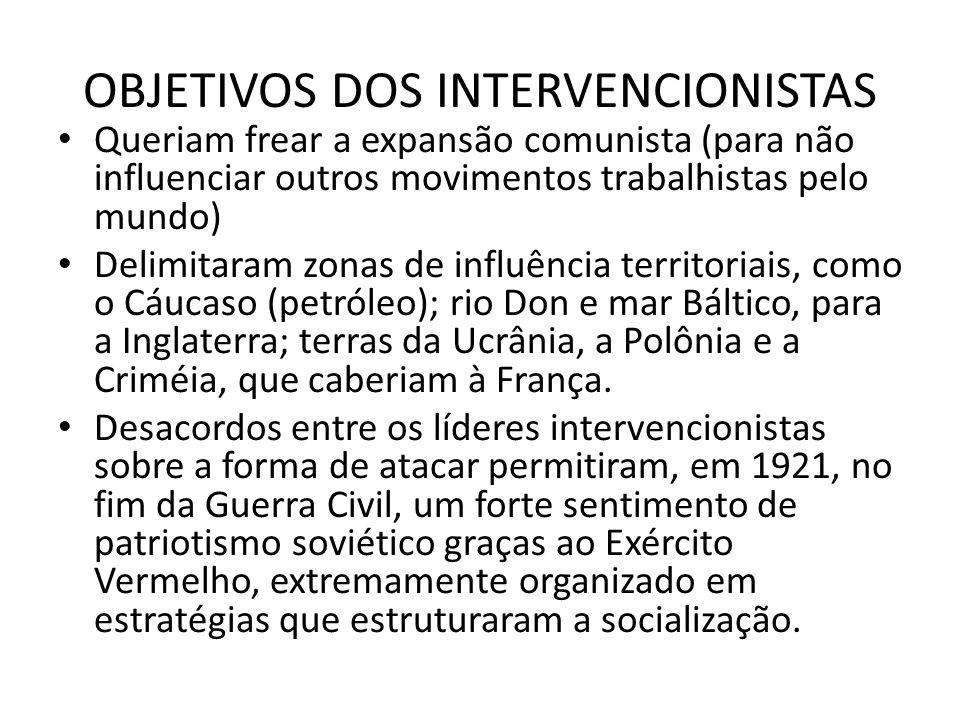 OBJETIVOS DOS INTERVENCIONISTAS • Queriam frear a expansão comunista (para não influenciar outros movimentos trabalhistas pelo mundo) • Delimitaram zo