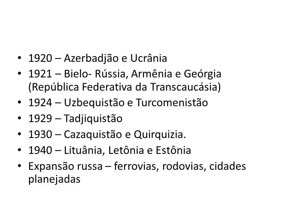 • 1920 – Azerbadjão e Ucrânia • 1921 – Bielo- Rússia, Armênia e Geórgia (República Federativa da Transcaucásia) • 1924 – Uzbequistão e Turcomenistão •