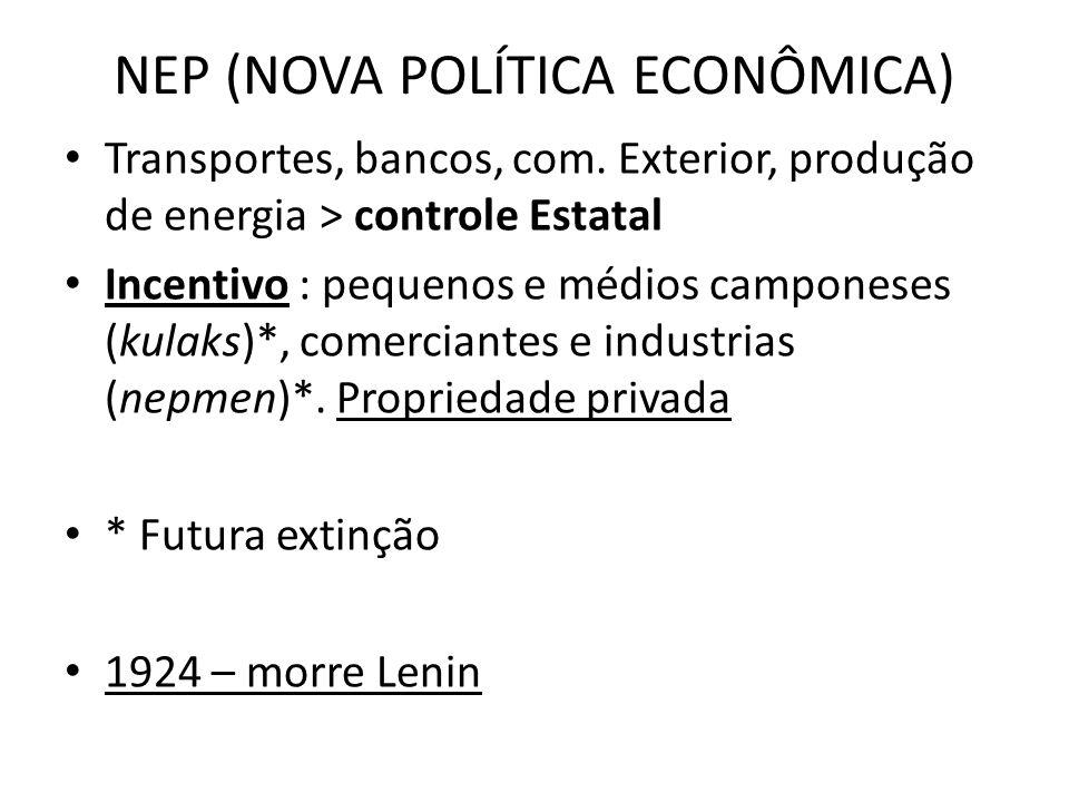 NEP (NOVA POLÍTICA ECONÔMICA) • Transportes, bancos, com. Exterior, produção de energia > controle Estatal • Incentivo : pequenos e médios camponeses