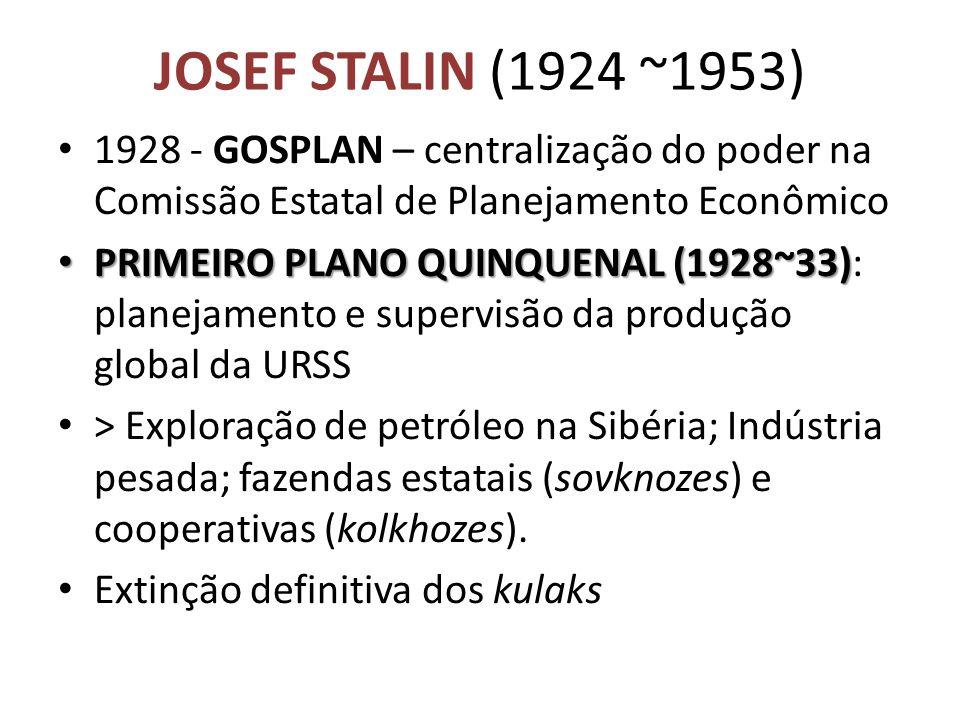 JOSEF STALIN (1924 ~1953) • 1928 - GOSPLAN – centralização do poder na Comissão Estatal de Planejamento Econômico • PRIMEIRO PLANO QUINQUENAL (1928~33