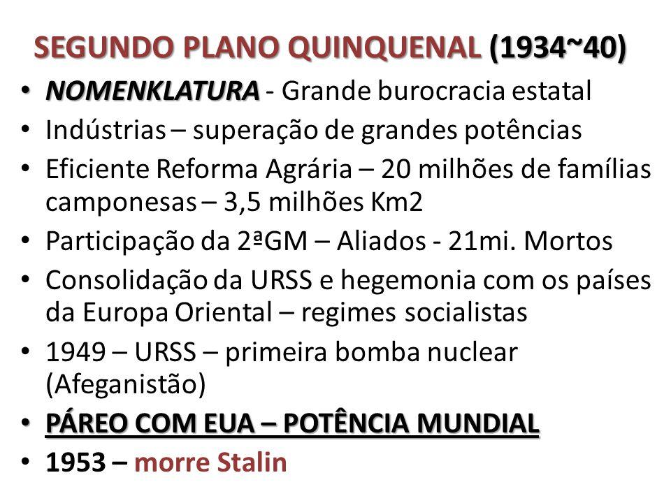 SEGUNDO PLANO QUINQUENAL (1934~40) • NOMENKLATURA • NOMENKLATURA - Grande burocracia estatal • Indústrias – superação de grandes potências • Eficiente