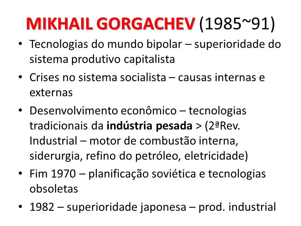 MIKHAIL GORGACHEV MIKHAIL GORGACHEV (1985~91) • Tecnologias do mundo bipolar – superioridade do sistema produtivo capitalista • Crises no sistema soci