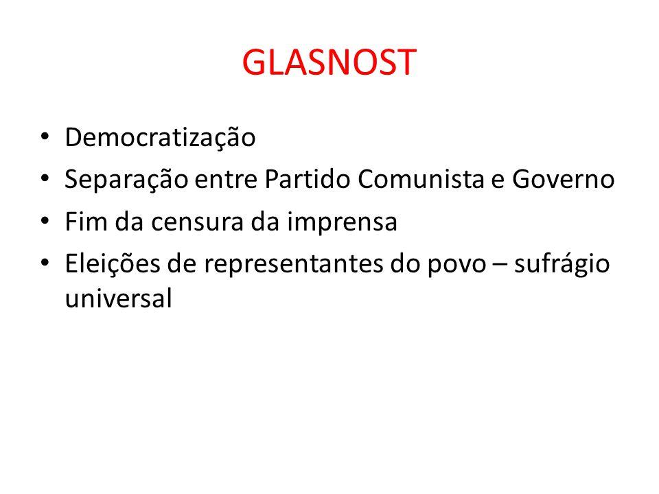 GLASNOST • Democratização • Separação entre Partido Comunista e Governo • Fim da censura da imprensa • Eleições de representantes do povo – sufrágio u