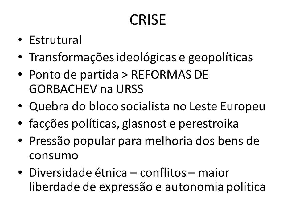 CRISE • Estrutural • Transformações ideológicas e geopolíticas • Ponto de partida > REFORMAS DE GORBACHEV na URSS • Quebra do bloco socialista no Lest