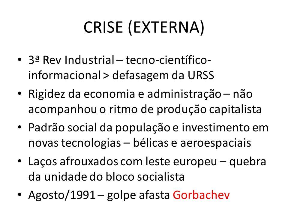 CRISE (EXTERNA) • 3ª Rev Industrial – tecno-científico- informacional > defasagem da URSS • Rigidez da economia e administração – não acompanhou o rit