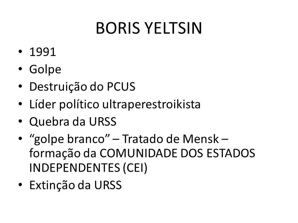 """BORIS YELTSIN • 1991 • Golpe • Destruição do PCUS • Líder político ultraperestroikista • Quebra da URSS • """"golpe branco"""" – Tratado de Mensk – formação"""