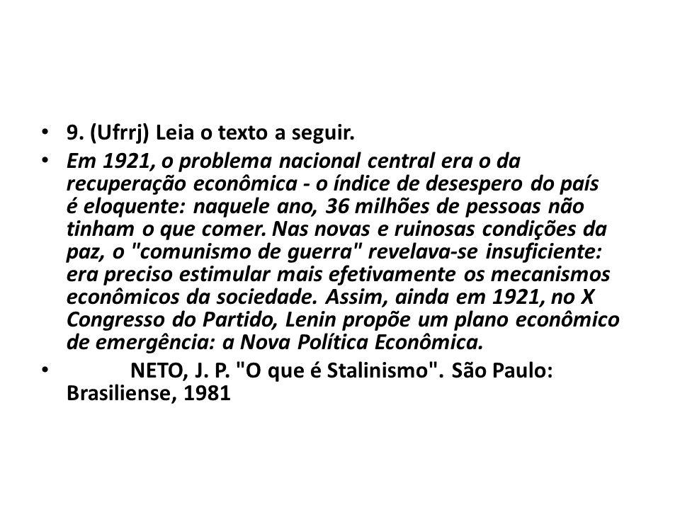 • 9. (Ufrrj) Leia o texto a seguir. • Em 1921, o problema nacional central era o da recuperação econômica - o índice de desespero do país é eloquente: