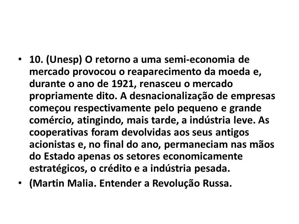 • 10. (Unesp) O retorno a uma semi-economia de mercado provocou o reaparecimento da moeda e, durante o ano de 1921, renasceu o mercado propriamente di