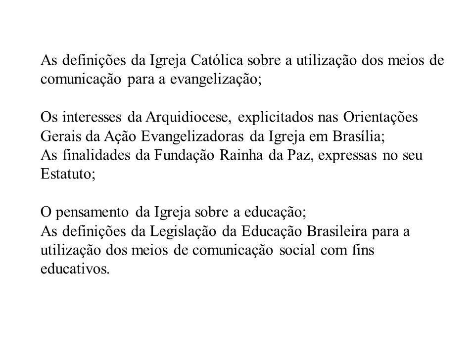 As definições da Igreja Católica sobre a utilização dos meios de comunicação para a evangelização; Os interesses da Arquidiocese, explicitados nas Ori