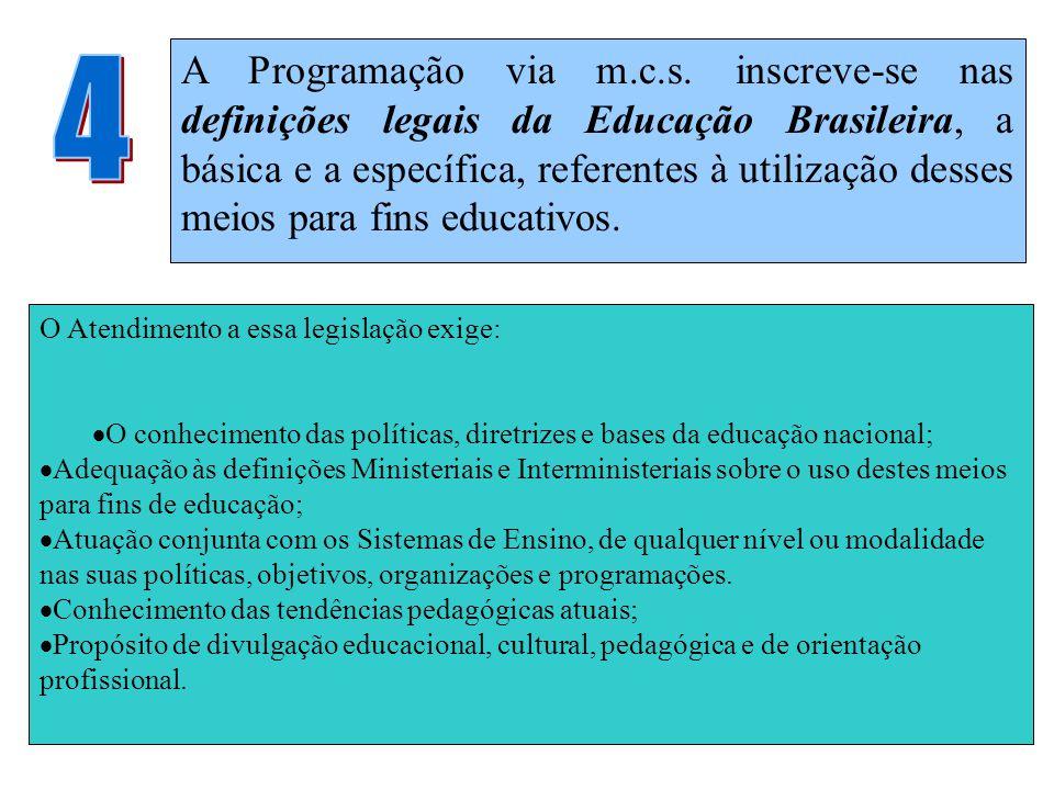 A Programação via m.c.s. inscreve-se nas definições legais da Educação Brasileira, a básica e a específica, referentes à utilização desses meios para