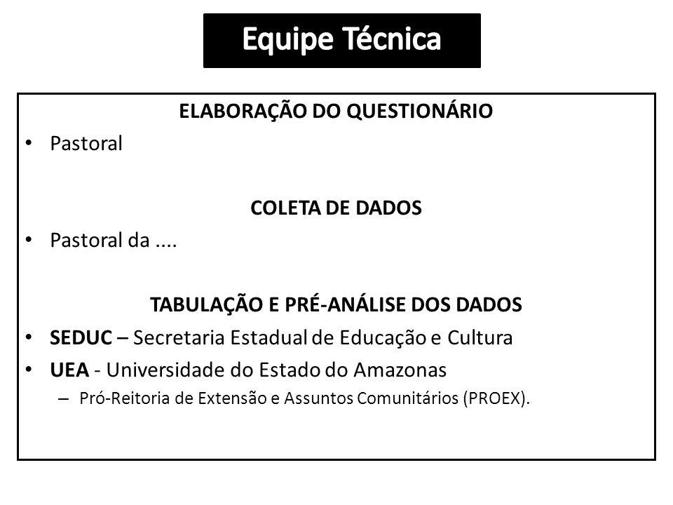 ELABORAÇÃO DO QUESTIONÁRIO • Pastoral COLETA DE DADOS • Pastoral da....