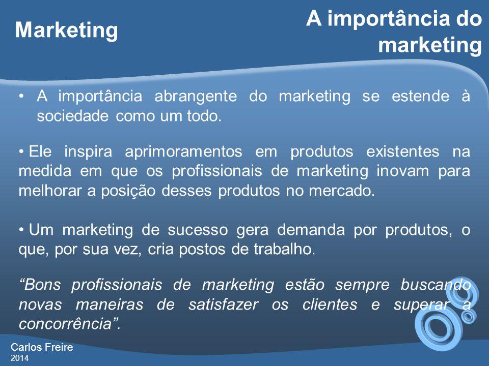 Marketing •A importância abrangente do marketing se estende à sociedade como um todo.