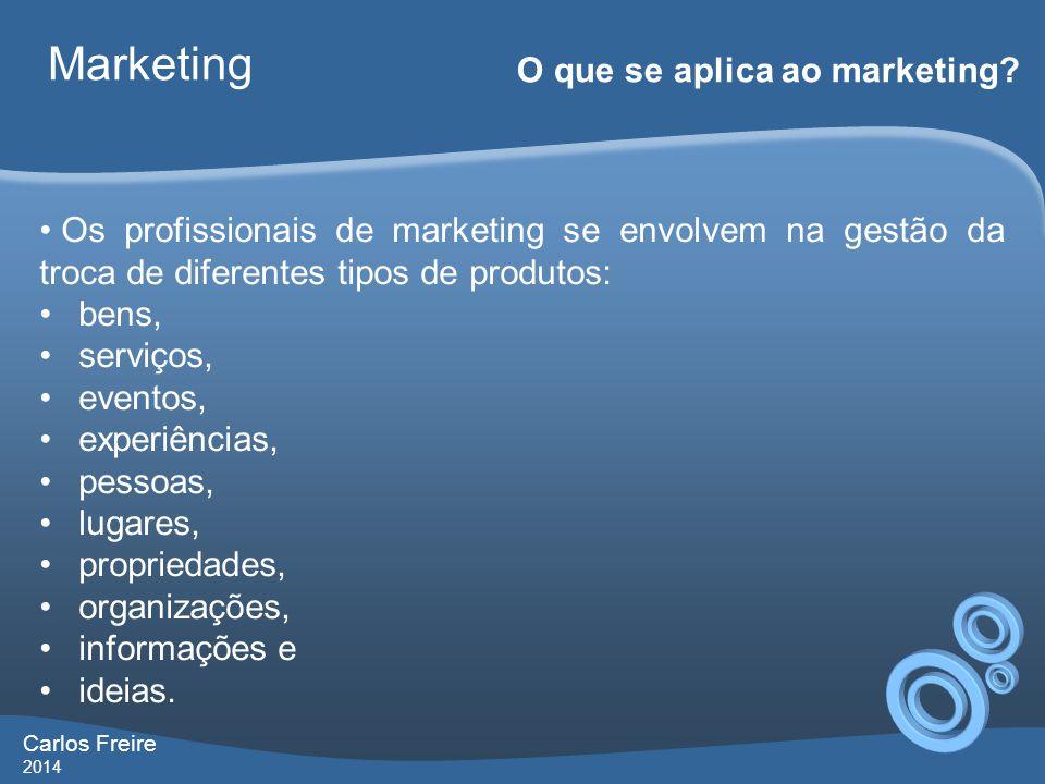 Carlos Freire 2014 Marketing O que se aplica ao marketing.