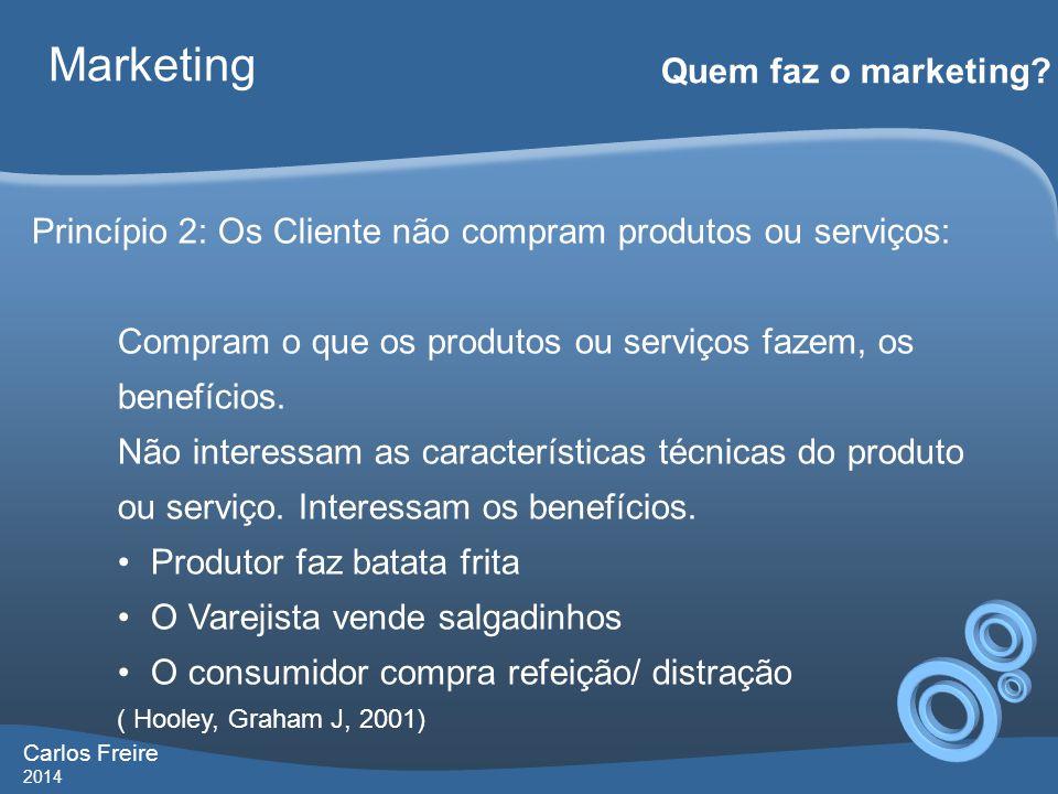 Carlos Freire 2014 Marketing Quem faz o marketing? Princípio 2: Os Cliente não compram produtos ou serviços: Compram o que os produtos ou serviços faz