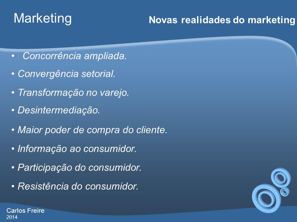 Carlos Freire 2014 Marketing Novas realidades do marketing •Concorrência ampliada.