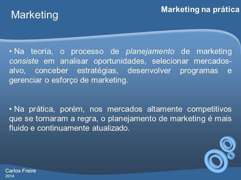 Carlos Freire 2014 Marketing Marketing na prática • Na teoria, o processo de planejamento de marketing consiste em analisar oportunidades, selecionar mercados- alvo, conceber estratégias, desenvolver programas e gerenciar o esforço de marketing.