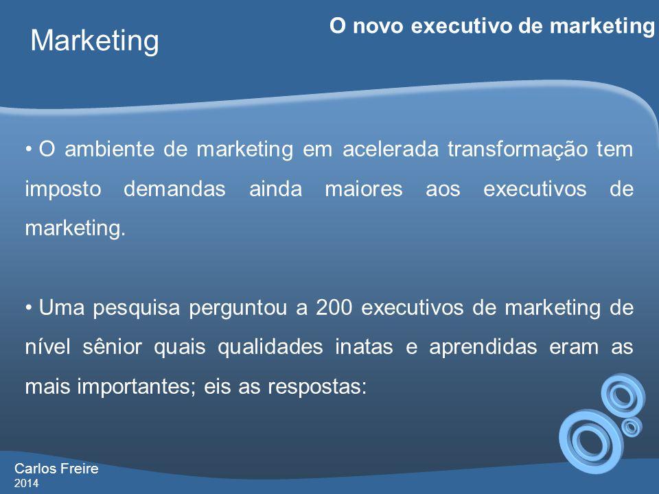 Carlos Freire 2014 Marketing O novo executivo de marketing • O ambiente de marketing em acelerada transformação tem imposto demandas ainda maiores aos executivos de marketing.