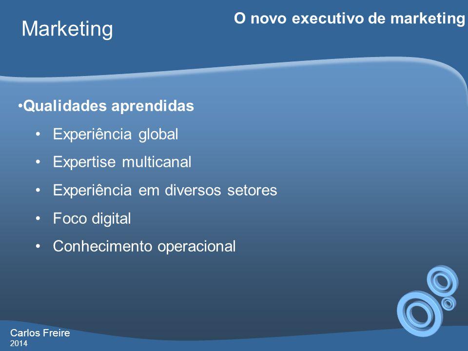 Carlos Freire 2014 Marketing O novo executivo de marketing •Qualidades aprendidas •Experiência global •Expertise multicanal •Experiência em diversos setores •Foco digital •Conhecimento operacional