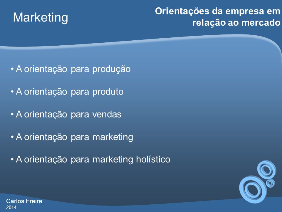 Carlos Freire 2014 Marketing Marketing Holístico • Marketing de relacionamento • Marketing integrado • Marketing interno • Marketing de desempenho