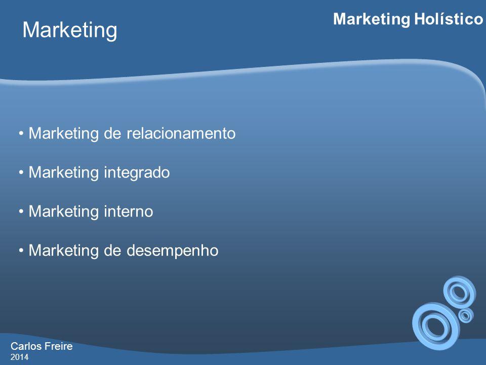 Carlos Freire 2014 Marketing Marketing Holístico • Marketing de relacionamento • Marketing integrado • Marketing interno • Marketing de desempenho