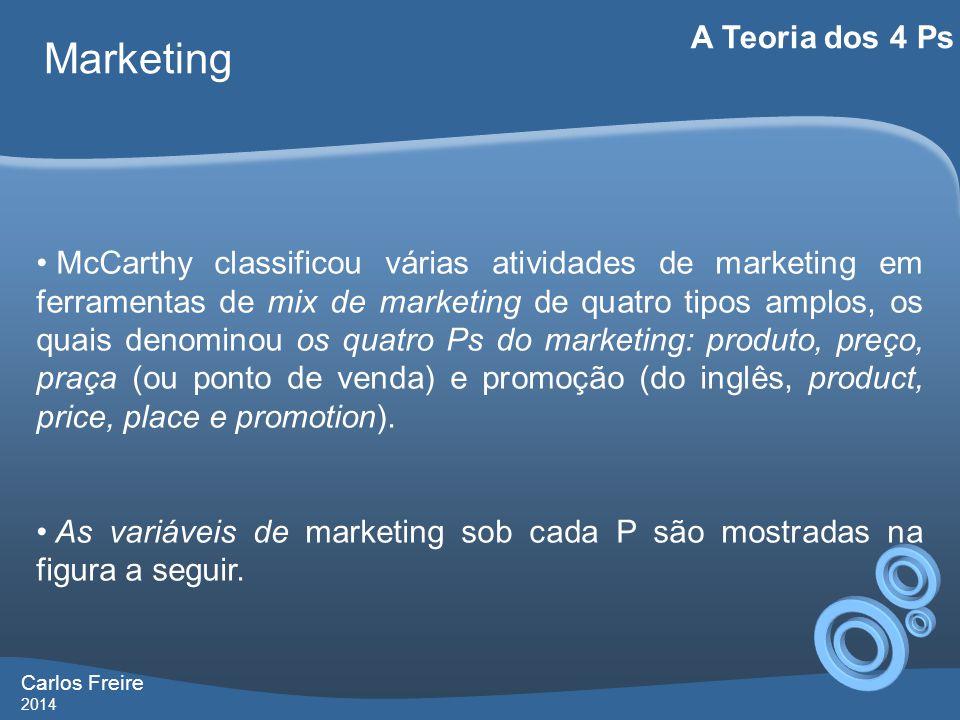 Carlos Freire 2014 Marketing A Teoria dos 4 Ps • McCarthy classificou várias atividades de marketing em ferramentas de mix de marketing de quatro tipos amplos, os quais denominou os quatro Ps do marketing: produto, preço, praça (ou ponto de venda) e promoção (do inglês, product, price, place e promotion).