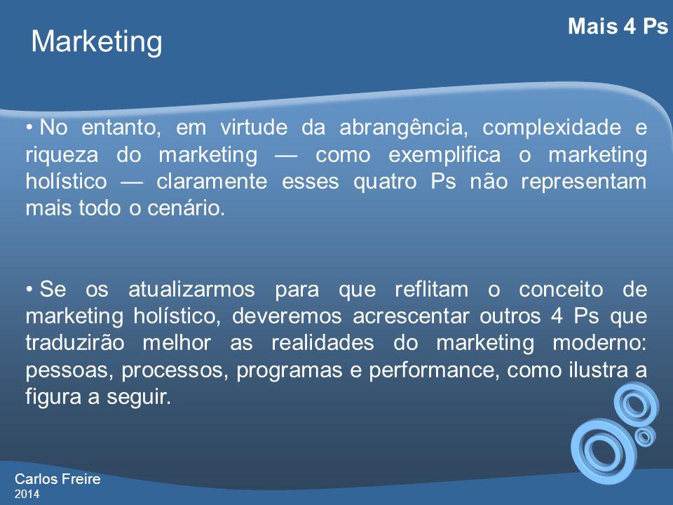 Carlos Freire 2014 Marketing Mais 4 Ps • No entanto, em virtude da abrangência, complexidade e riqueza do marketing — como exemplifica o marketing holístico — claramente esses quatro Ps não representam mais todo o cenário.