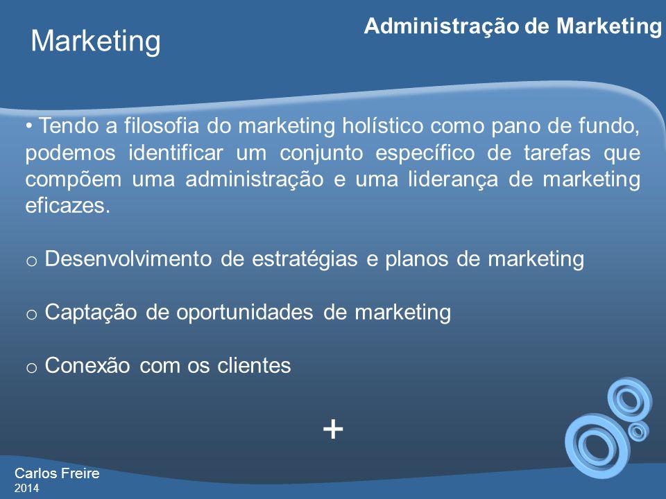 Carlos Freire 2014 Marketing Administração de Marketing • Tendo a filosofia do marketing holístico como pano de fundo, podemos identificar um conjunto específico de tarefas que compõem uma administração e uma liderança de marketing eficazes.
