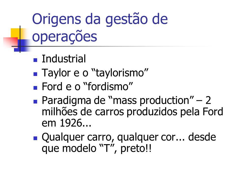 """Origens da gestão de operações  Industrial  Taylor e o """"taylorismo""""  Ford e o """"fordismo""""  Paradigma de """"mass production"""" – 2 milhões de carros pro"""