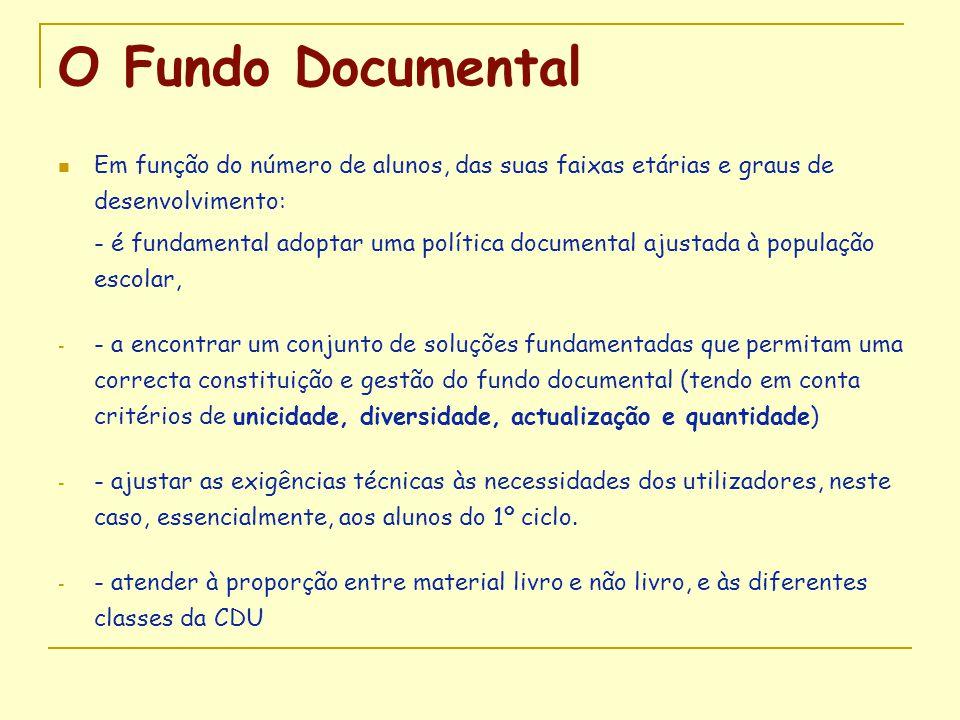 O Fundo Documental  Em função do número de alunos, das suas faixas etárias e graus de desenvolvimento: - é fundamental adoptar uma política documenta