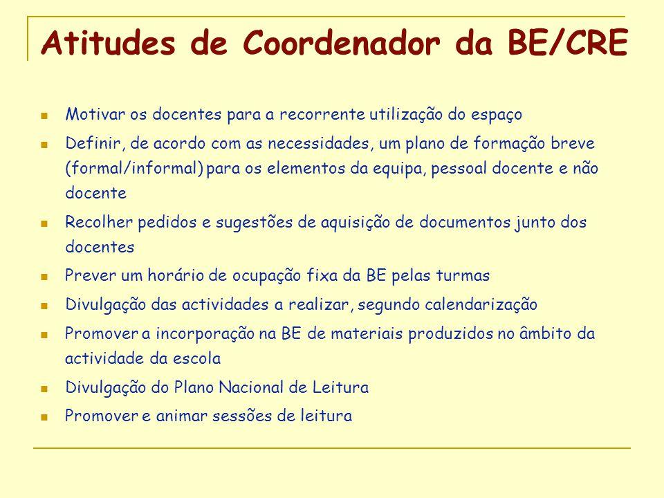 Atitudes de Coordenador da BE/CRE  Motivar os docentes para a recorrente utilização do espaço  Definir, de acordo com as necessidades, um plano de f