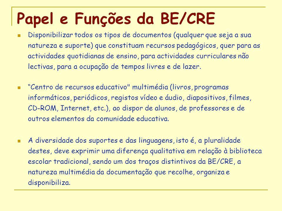 Papel e Funções da BE/CRE  Disponibilizar todos os tipos de documentos (qualquer que seja a sua natureza e suporte) que constituam recursos pedagógic